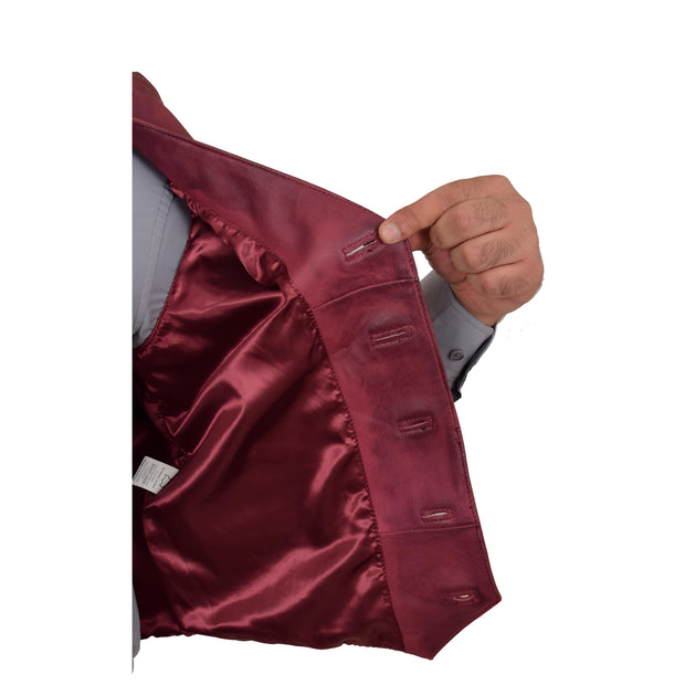Mens Full Leather Waistcoat Burgundy Gilet Traditional Smart Vest King Lining