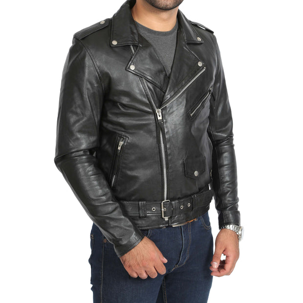 Mens Brando Biker Leather Jacket Elvis Black