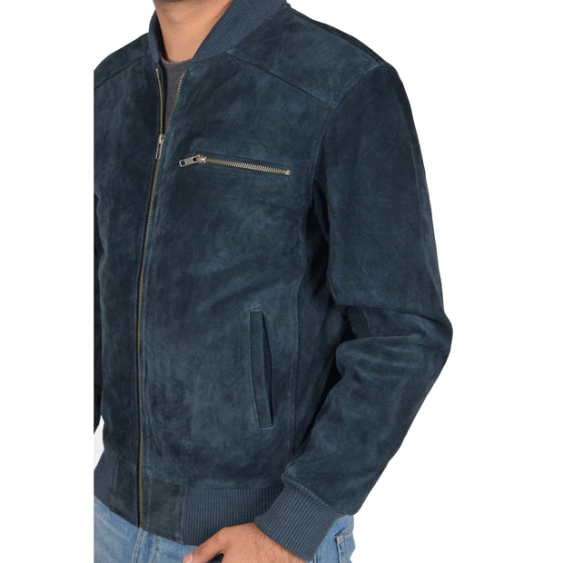 Mens Genuine Suede Bomber Jacket Roco Blue Feature