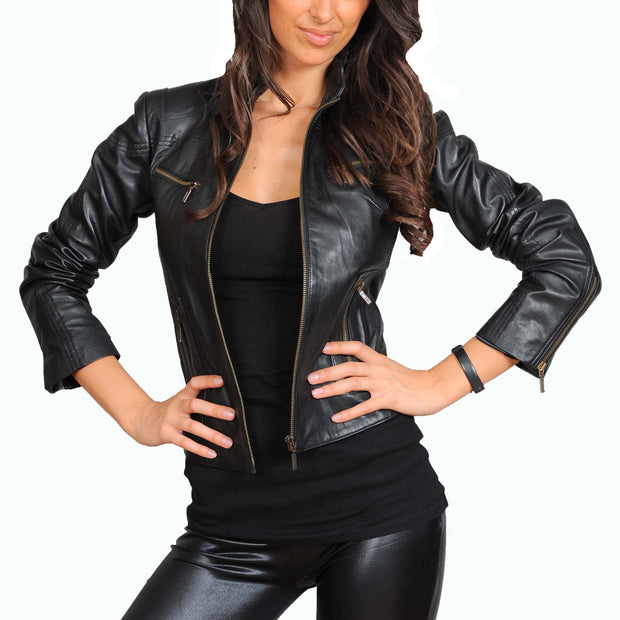 Womens Fitted Leather Biker Jacket Casual Zip Up Coat Jenny Black Open