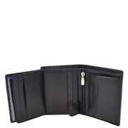 Mens Soft Leather Small Wallet Bifold Purse AL03 Black Open 3