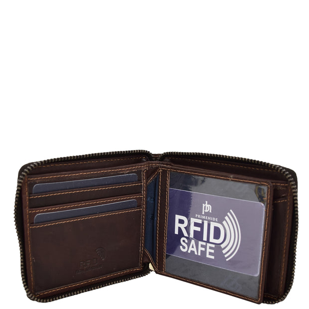 Mens RFID Zip Around Real Leather Wallet Cards Coins ID Notes Case AL04 Brown Open 2