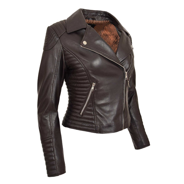 Womens Designer Leather Biker Jacket Fitted Quilted Coat Bonita Brown Front Angle 2