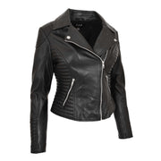 Womens Designer Leather Biker Jacket Fitted Quilted Coat Bonita Black Front Angle 2