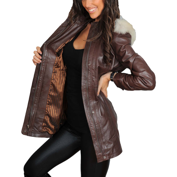 Womens Duffle Leather Coat Detachable Hood 3/4 Long Parka Jacket Mila Brown Lining