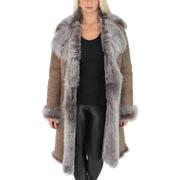 Womens Luxurious Toscana Long Coat Real Sheepskin Pamela Taupe Open