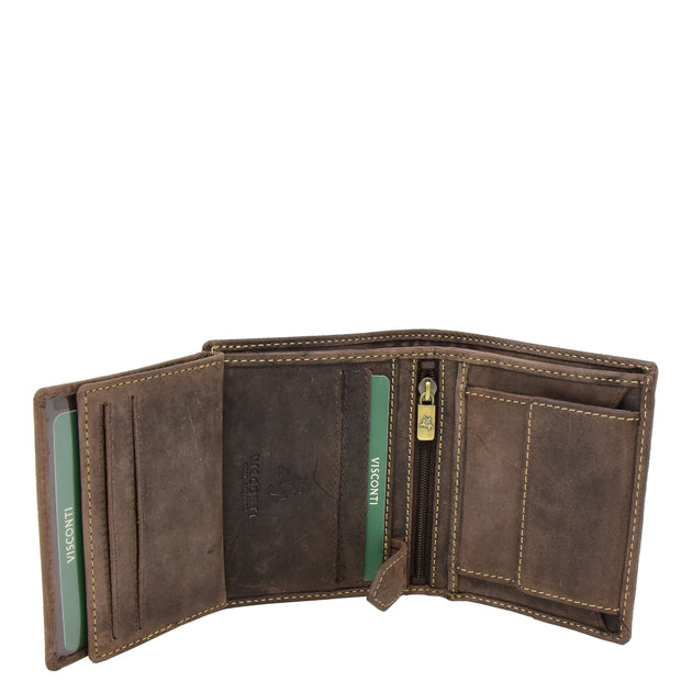 Mens Distressed Leather Wallet Coins Credit Cards Note Case A108 Brown Open 3