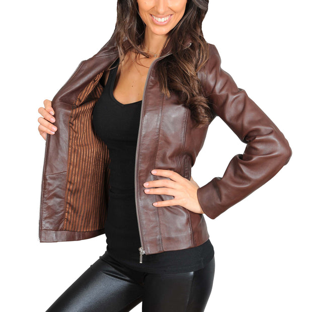 Womens Classic Fitted Biker Real Leather Jacket Nicole Brown Lining