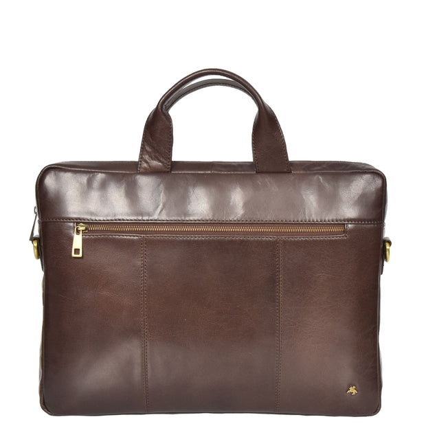 Laptop Briefcase Real Leather Business Bag Messenger Satchel Brown Nice Front