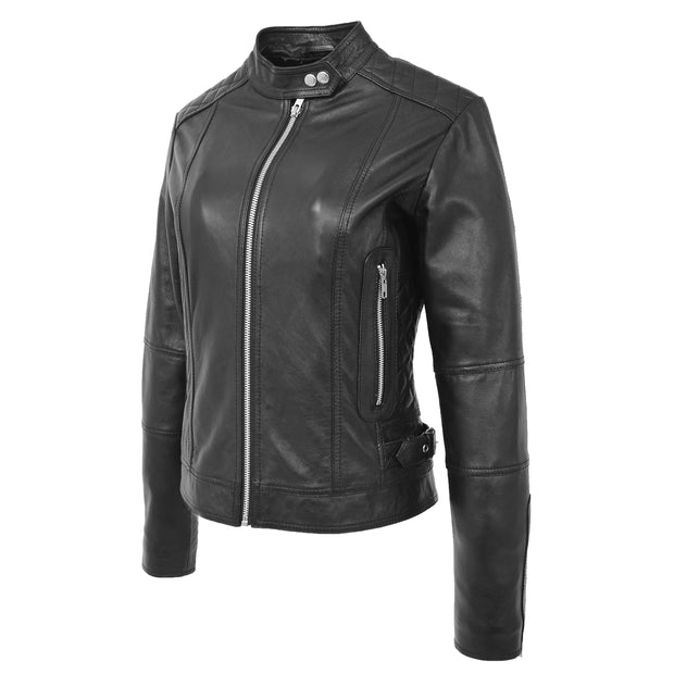 Womens Soft Black Leather Biker Jacket Designer Stylish Fitted Quilted Celeste Front Angle