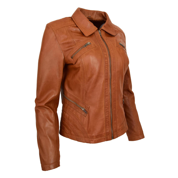 Ladies Soft Leather Jacket Fitted Collared Zip Fasten Biker Style Leah Tan Front Angle 2