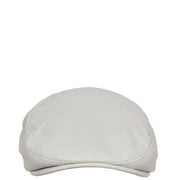 Genuine White Leather Flat Cap English Granddad Baker-boy Hat Arthur Front