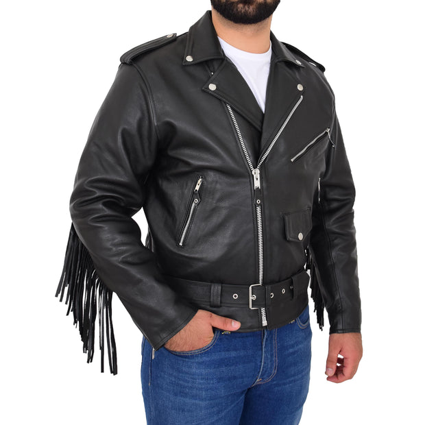 Mens Black Cowhide Biker Jacket With Leather Fringes Belt Tasselled Coat Bill