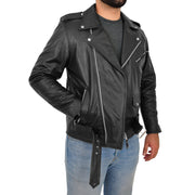 Genuine Cowhide Biker Leather Jacket For Men Casual Brando Coat Rock Black Open Side