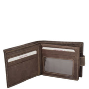 Mens Leather Bifold Wallet Cards Banknote Coins Case Snap Closure AV67 Brown Open 3