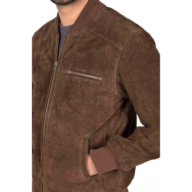 Mens Genuine Suede Bomber Jacket Roco Brown Feature