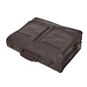 Genuine Luxury Leather Suit Garment Dress Carriers A112 Brown Front Letdown