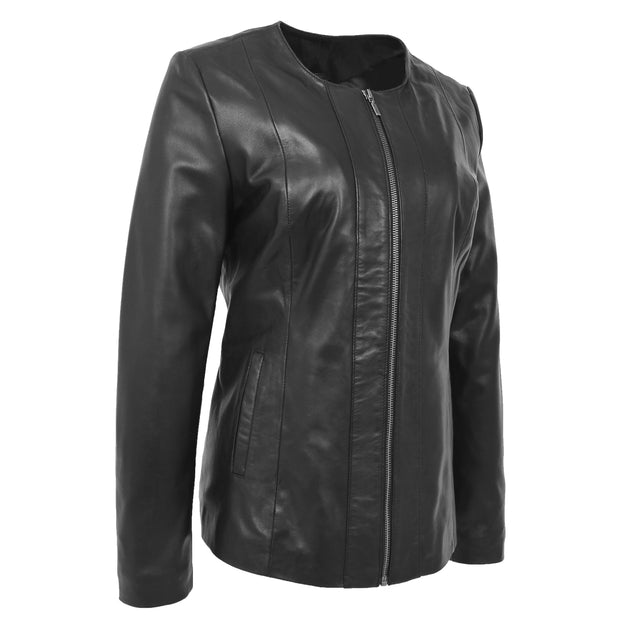 Womens Collarless Black Leather Jacket Round Neck Semi Fit Chelo
