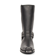 Real Leather Square Toe Cowboy Biker Boots AR69 Black Front