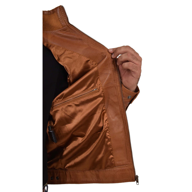 Mens Genuine Leather Biker Jacket Fitted Zip Up Coat Felix Tan Lining