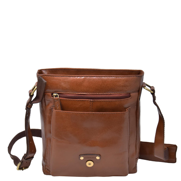 Mens Real Leather Cross body Messenger Bag A224 Chestnut Front Open