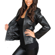 Womens Classic Fitted Biker Real Leather Jacket Nicole Black Lining