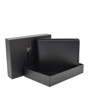 Mens Real Leather Large Size Bifold Wallet AL94 Black With Box