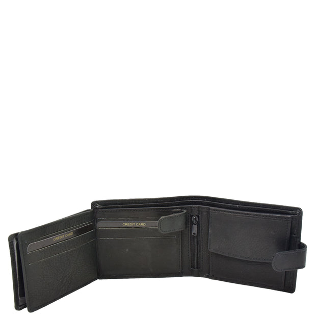 Mens Real Leather Bifold Clip Closure Wallet AV86 Black Open 3