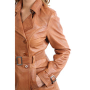 Womens Soft Leather Trench Coat Olivia Tan Feature 1