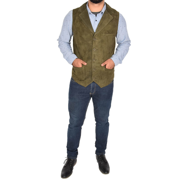 Mens Real Suede Leather Waistcoat Classic Vest Yelek Status Green Full
