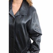 Ladies Classic Parka Real Leather Coat Trim Jacket Lulu Black-Grey Feature 1