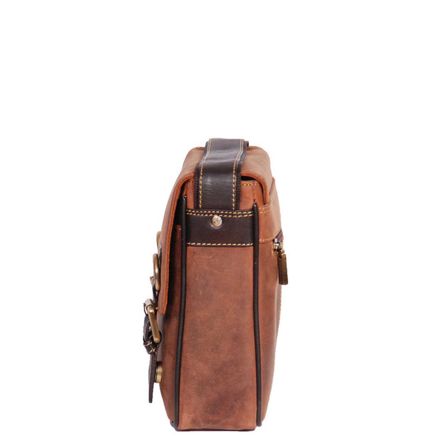 Real Leather Messenger Cross Body Organiser Office Bag Beck Tan Side