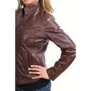 Womens Fitted Leather Biker Jacket Casual Zip Up Coat Jenny Brown Feature 1