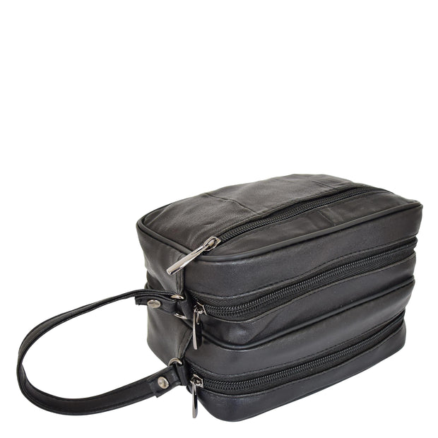 Gents Real Leather Wrist Bag Clutch Travel Black Bag Mason Letdown