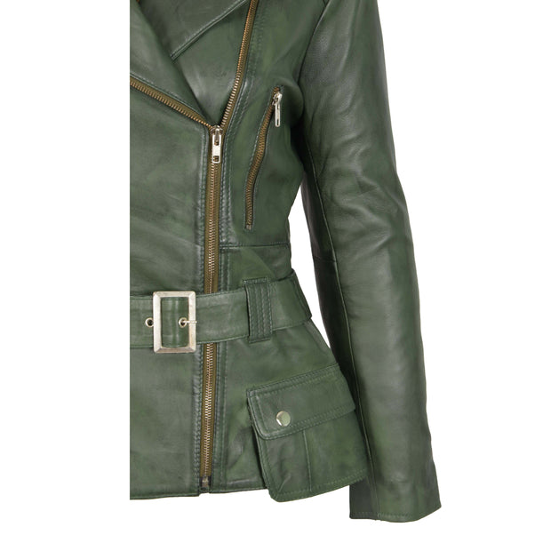 Womens Biker Leather Jacket Slim Fit Cut Hip Length Coat Coco Green Feature