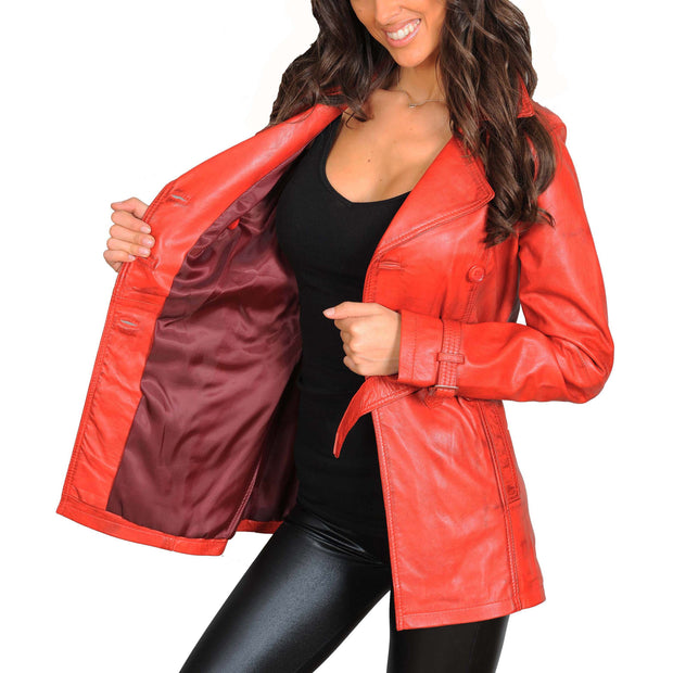 Womens Soft Leather Trench Coat Olivia Red Lining