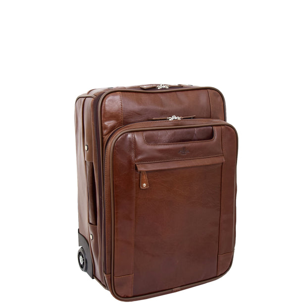 Luxurious Brown Leather Cabin Size Suitcase Hand Luggage Beverley Hills Front 2