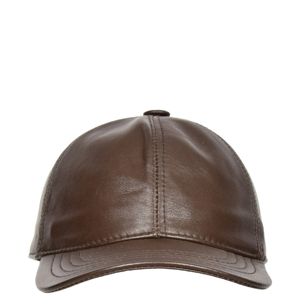Genuine Leather Baseball Cap Sports Casual Viper Brown Front