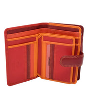 Womens Leather Booklet Evening Clutch Purse Multi Colour Wallet AVB51 Red Open 2