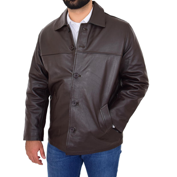 Gents Real Leather Button Box Jacket Classic Regular Fit Coat Luis Brown Front 2