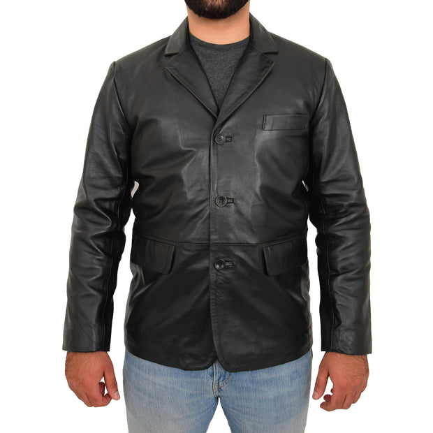 Real Leather Classic Blazer For Mens Smart Casual Black Jacket Kevin Front 1