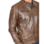Mens Leather Jacket Biker Style Zip up Coat Bill Brown Feature