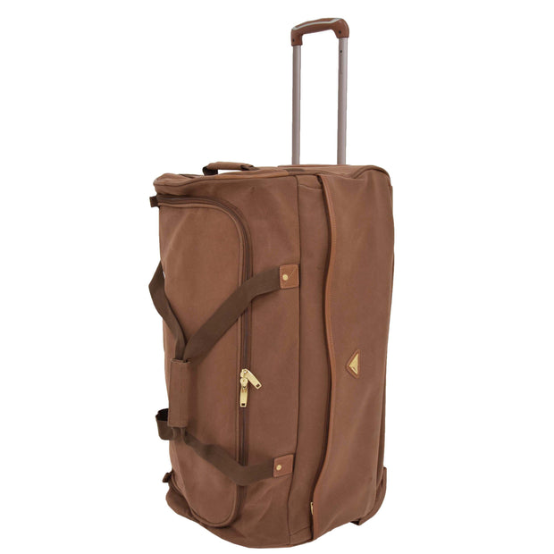 "Wheeled Holdall 30"" Large Camel Faux Leather Travel Duffle Bag Swoose Front Stand"