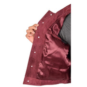 Mens Real Soft Goat Suede Trucker Denim Style Jacket Chuck Burgundy Lining
