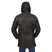 Mens Genuine Sheepskin Duffle Coat 3/4 Long Hooded Jacket Ace Black Back 2