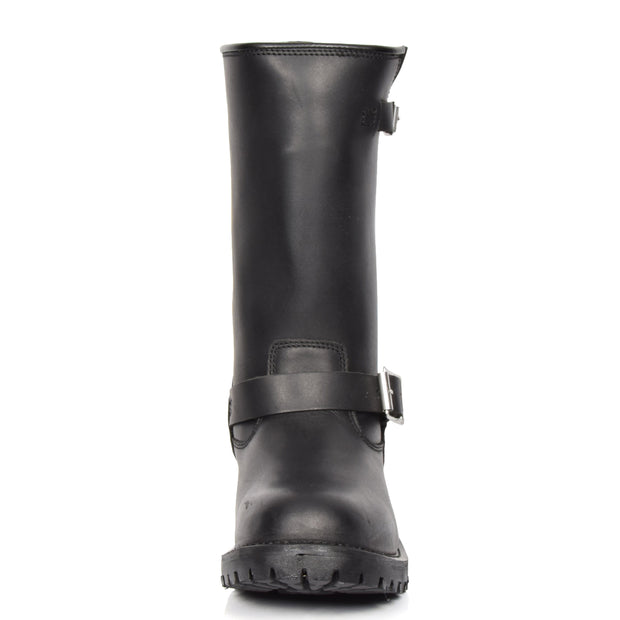 Real Leather Round Toe Buckle Design Biker Boots ATB45H Black Front
