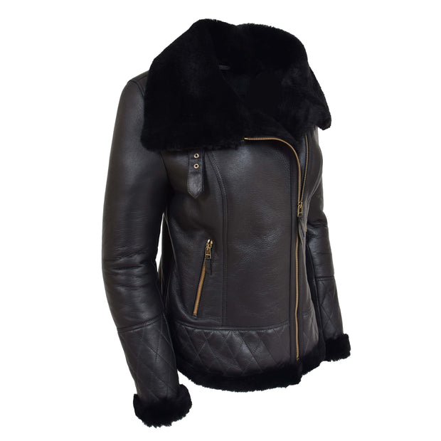 Super Luxurious Womens Real Sheepskin Jacket Aviator Coat Alexa Black Front 2