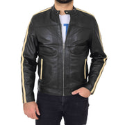 Mens Black Leather Biker Casual Contrasting Stripes Jacket Butch