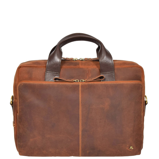 Leather Briefcase Vintage TAN Messenger Shoulder Bag Hanoi Front