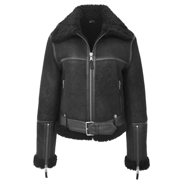 Womens Luxurious Genuine Sheepskin Flying Jacket Real Black Shearling Harriet